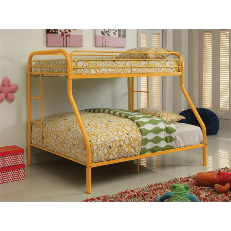 Furniture of America Capelli Twin over Full Metal Bunk Bed in Orange