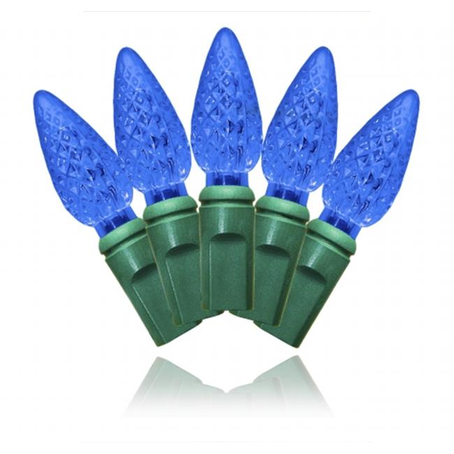 Winterland S-35C6BL-4G C6 Blue LED Light Set With In-Line Rectifer On Green Wire