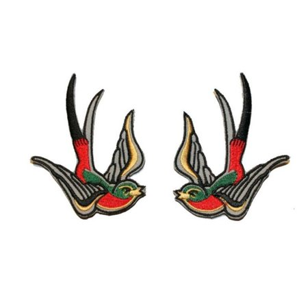 Set of 2 Colorful Swallow Patch Bird Tattoo Sparrow Embroidered Iron On - Tattoos Of Birds