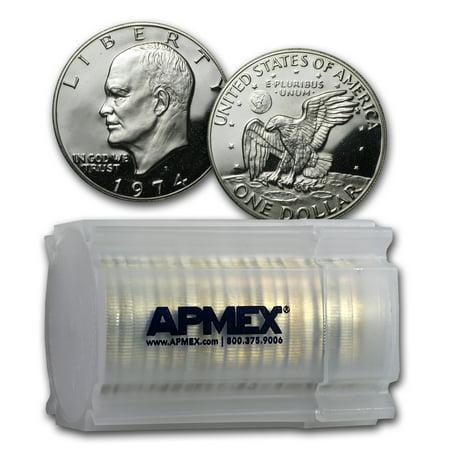 Silver Dollar Gem Proof (1974-S 40% Silver Eisenhower Dollar 20-Coin Roll Gem Proof)