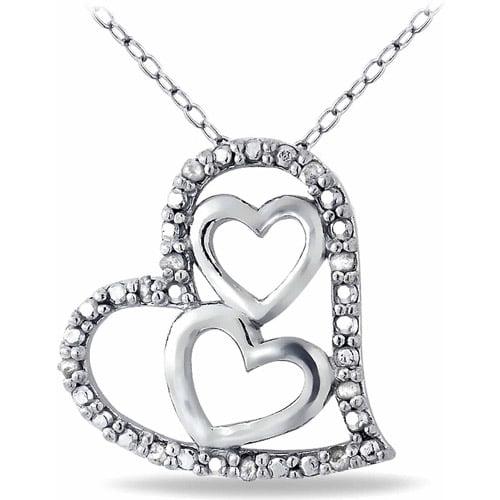 1/10 Carat T.W. Diamond Sterling Silver Triple Heart Necklace