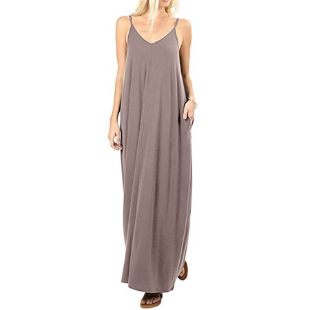 1078acd680 Viugreum - Women's Casual Plain V Neck Sleeveless Loose Beach Cami Maxi  Dress With Pockets Plus Size - Walmart.com