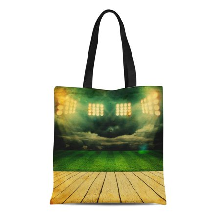 KDAGR Canvas Bag Resuable Tote Grocery Shopping Bags Green Best Stadium Champion Field Football Arena Brasil Brazil Bright Tote