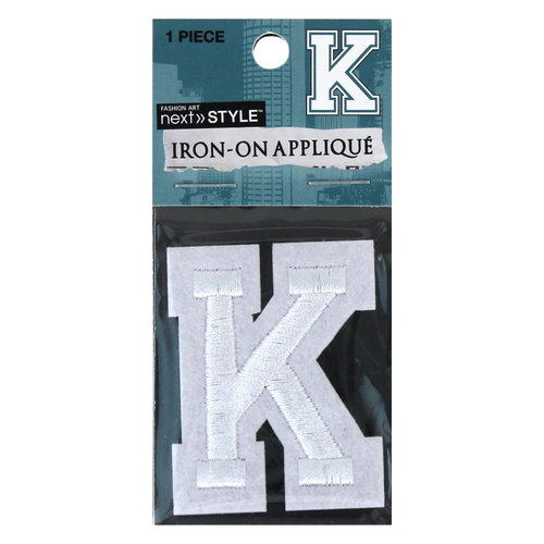 "Next Style Single Embroidery Letter, ""K"", White"