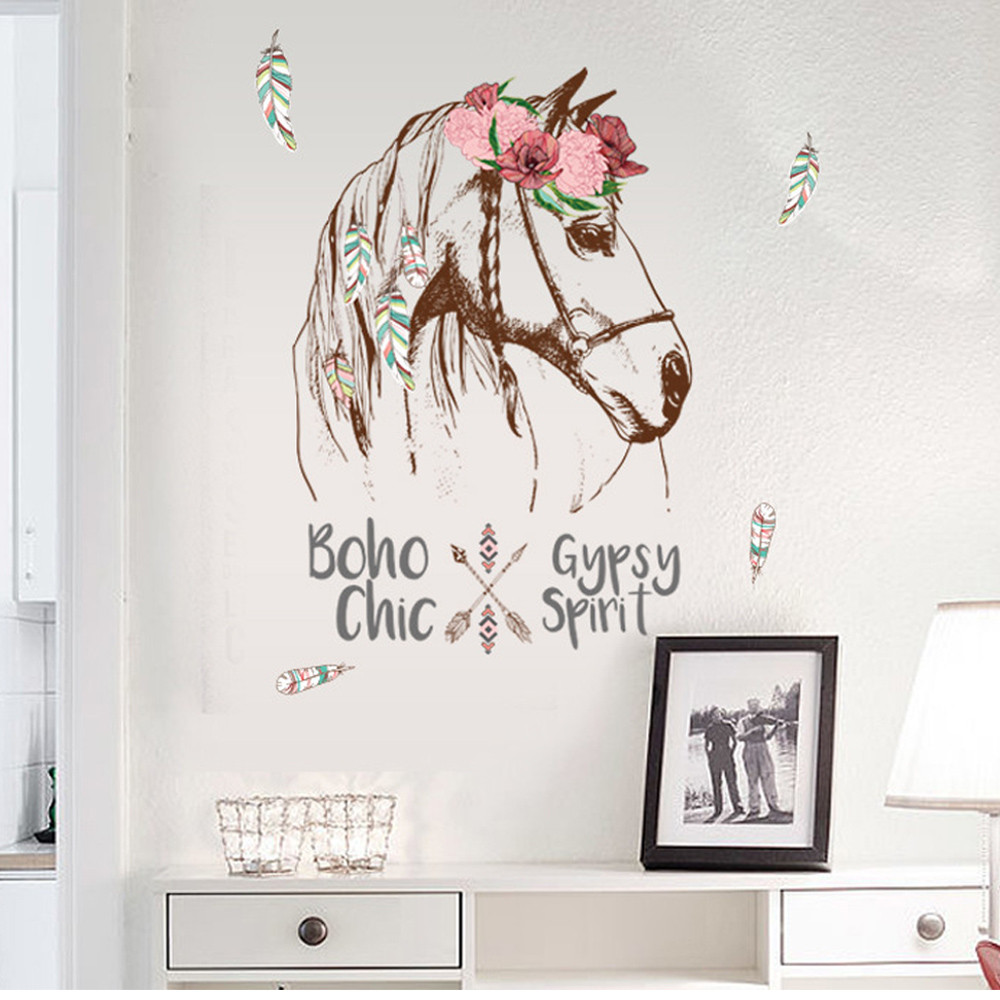 Colorful Horse Removable Vinyl Decal Mural Home Decor Wall Sticker