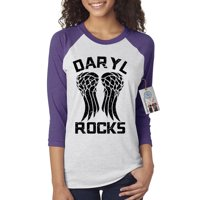 The Walking Dead Darl Rocks Wings Womens Raglan Shirt Top