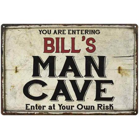 BILL'S Man Cave Sign Rustic 8 x 12 High Gloss Metal 208120035162 ()