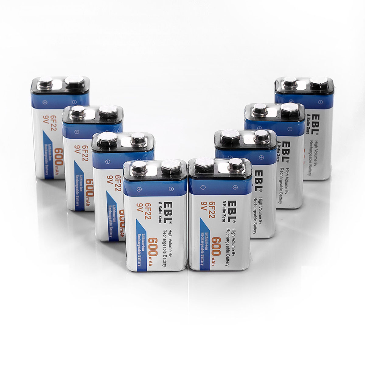 EBL 8-Pack 6F22 9v 600mAh Rechargeable Batteries 9 Volt Lithium-ion Replacement Battery