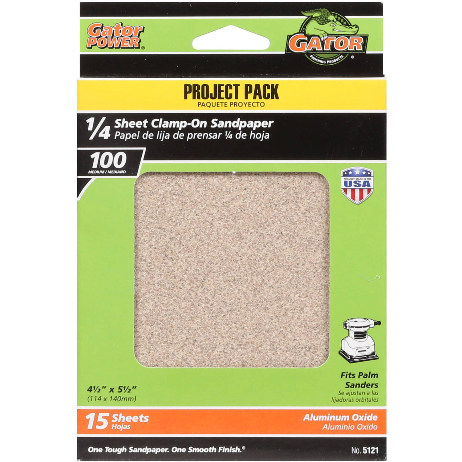 "Gator Grit 4.5"" x 5.5"" 1/4 Sheet Clamp-On Sandpaper, 100G, 15pk"