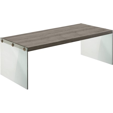 Monarch coffee table dark taupe with tempered glass for Tempered glass coffee table