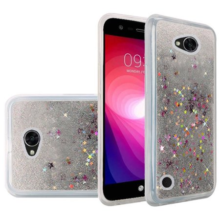 LG X Power 2, Fiesta LTE, LV7 Case - Wydan Liquid Water Sand Bling Glitter Sparkle Shockproof Flexible Phone Cover Silver