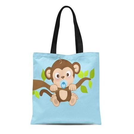 LADDKE Canvas Tote Bag Blue Little Baby Boy Monkey Jungle Safari Pacifier Reusable Handbag Shoulder Grocery Shopping Bags ()