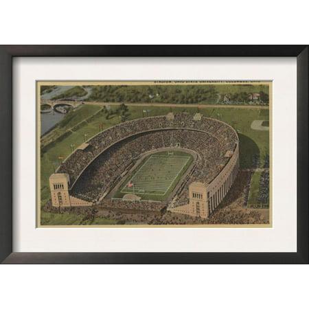 Air Framed - Columbus, Ohio - Ohio State University Stadium from Air Framed Art Print Wall Art