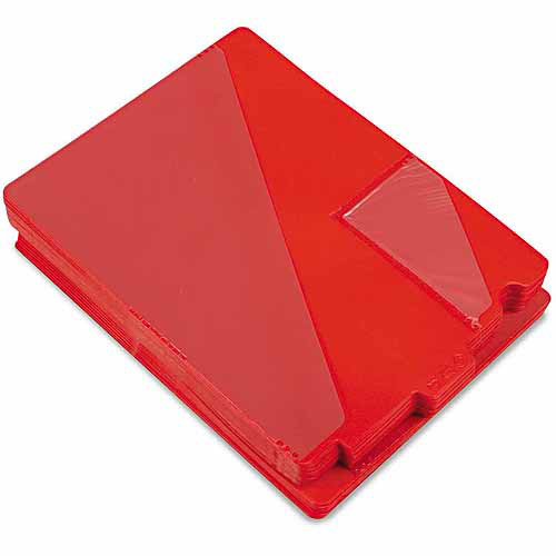 Smead Out Guides with Diagonal-Cut Pockets, Poly, Letter, Red, 50/Box