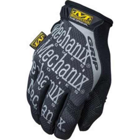 Medium Leather Glove - Medium Black The Original Grip Full Finger Synthetic Leather Mechanics Gloves With Hook And Loop Cuff, Reinforcement Panels