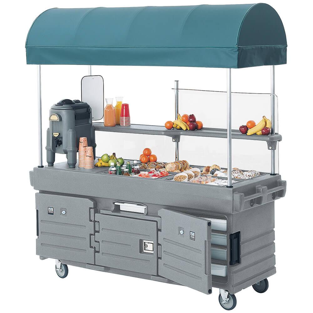 Cambro Mobile Food Kiosk with Canopy, 6 Food Pan Wells, G...