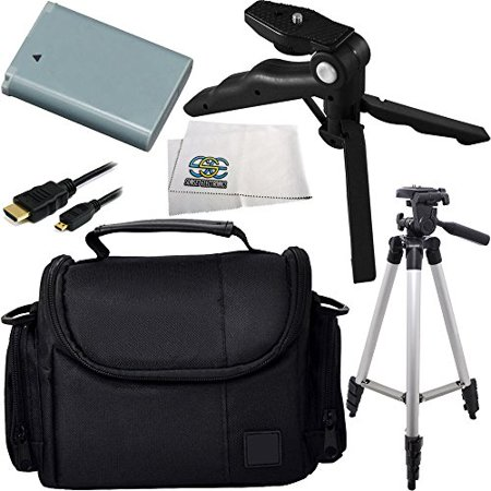 Essential Accessory Kit for Canon Powershot N100, G1X Mark II. Includes Replacement NB-12L Battery + Full Size Tripod + Pistol Grip/Table Top Tripod + Micro HDMI Cable + Carrying Case + Microfiber