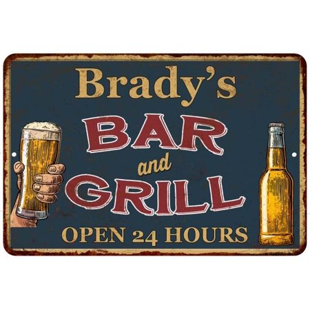 Brady's Green Bar and Grill Personalized Metal Sign 16 x 24 Matte Finish  Metal 116240044209