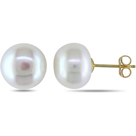 9-9.5mm White Cultured Freshwater Pearl 14kt Yellow Gold Stud Earrings