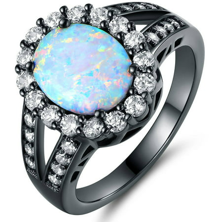 Lab Created Fire Opal Black Rhodium-Plated Flower Ring
