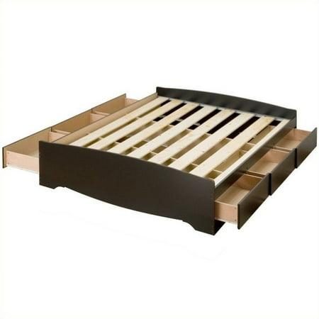 Prepac Sonoma Black King Platform Storage Bed with 6 Drawers