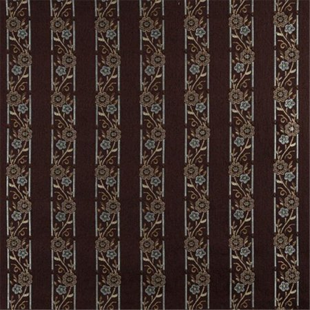 Designer Fabrics K0013F 54 in. Wide Brown, Light Blue, Gold And Ivory Embroidered, Striped, Floral Brocade, Upholstery And Window Treatments Fabric