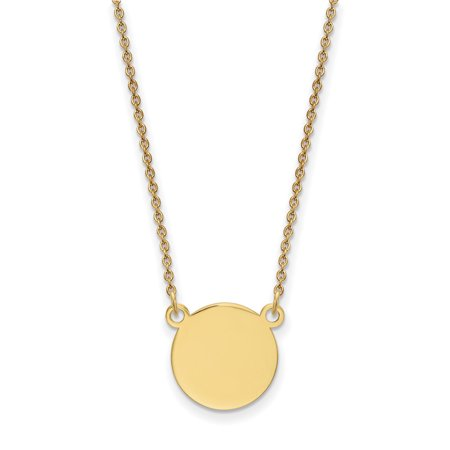 14k Yellow Gold .018 Gauge Circular Engravable Disc 18 Chain Necklace Pendant Charm Round