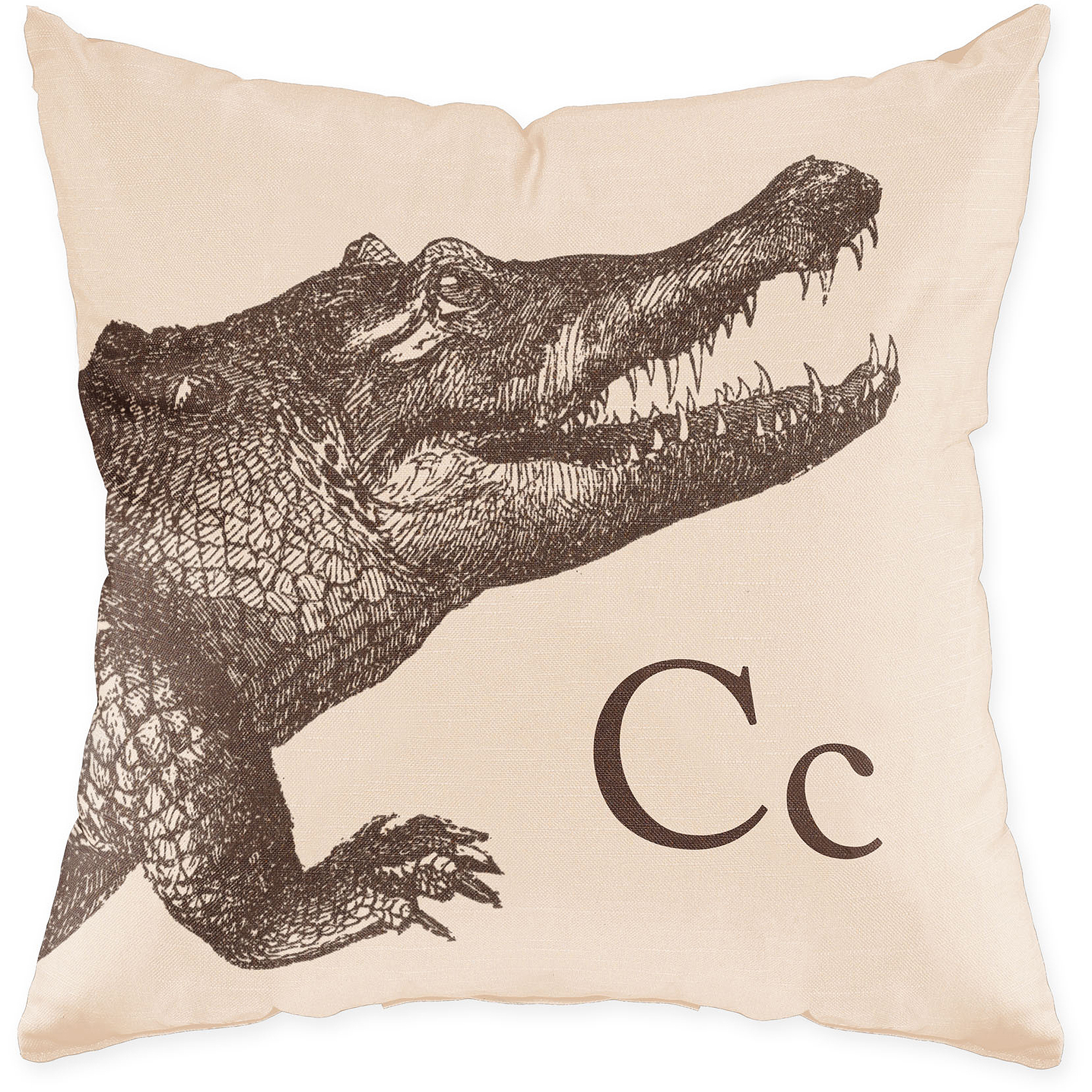 Checkerboard Lifestyle Crocodile Sand Throw Throw Pillow, Sand