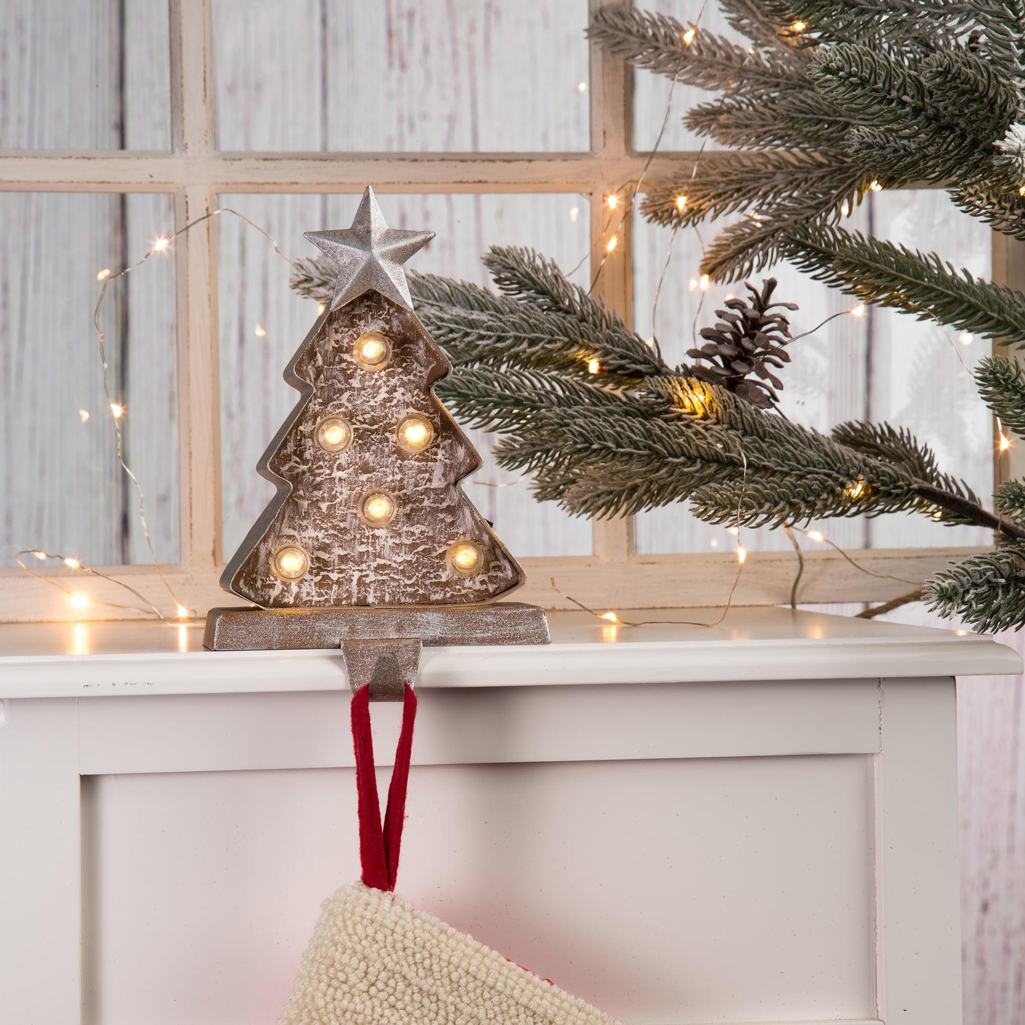 Glitzhome 7 5 H Marquee Led Lighted Christmas Stocking Holder Tree Walmart Com Walmart Com