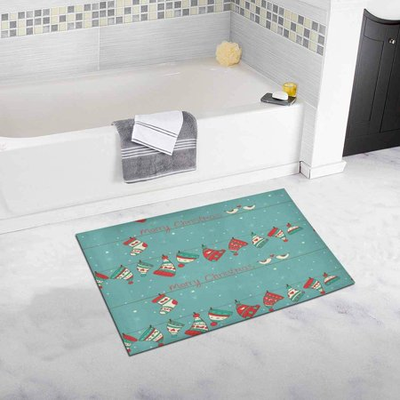 Turquoise Bird - CADecor Christmas with Birds, Socks and Hats On The Turquoise with Snowfall Bath Mat Soft Bathroom Rugs Doormat 30x18 inches