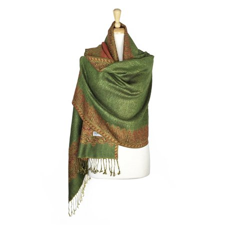 Layer Scarf - Paskmlna® Border Pattern Double Layered Reversible Woven Pashmina Shawl Scarf Wrap Stole #18