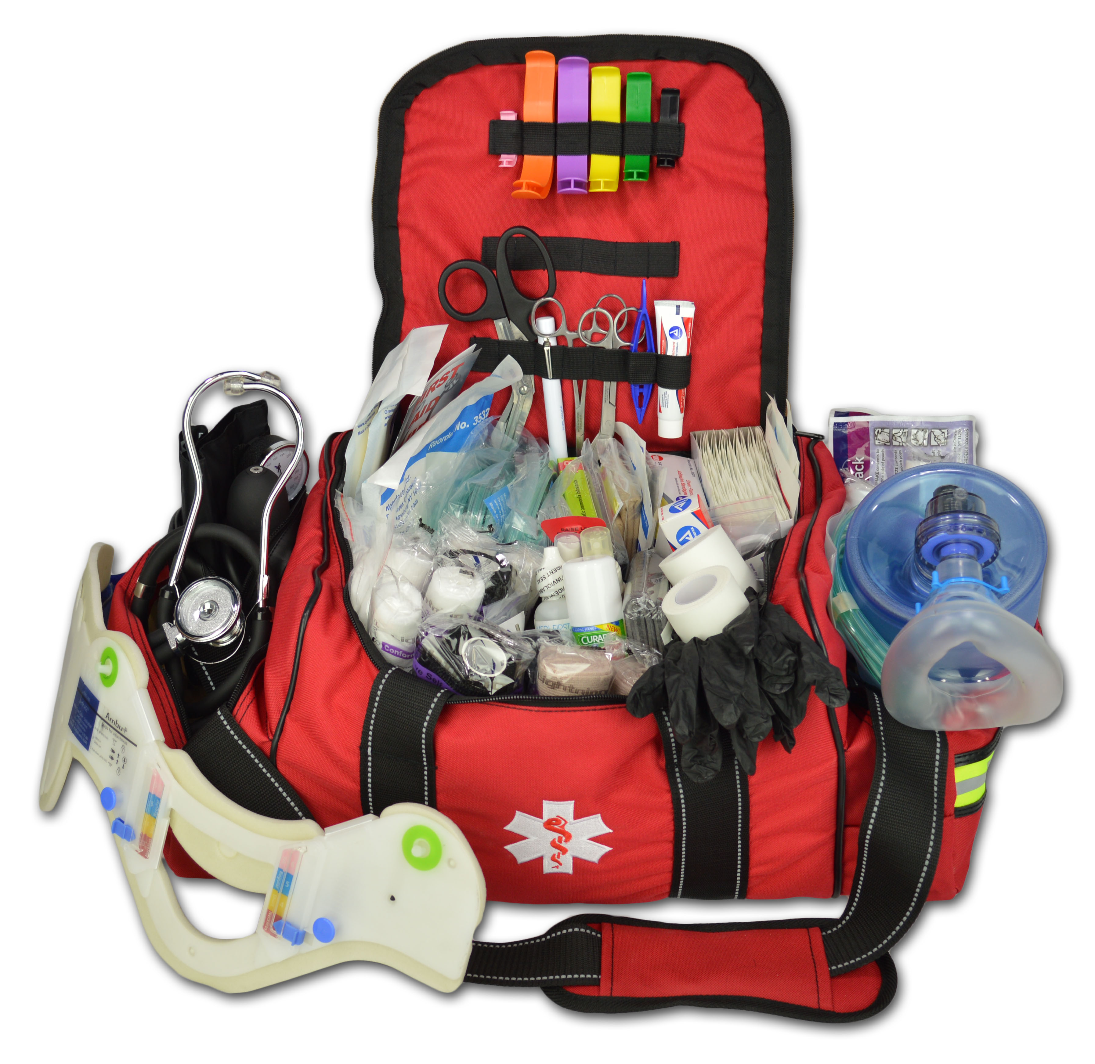 Lightning X Deluxe Stocked Large EMT First Aid Trauma Bag Fill Kit w/ Emergency Medical Supplies - Red