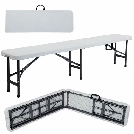 Clearance! 6 Portable Plastic In/Outdoor Picnic Party Camping Dining Folding Bench Off-white