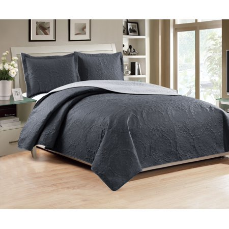 Madison 3-Piece Reversible Quilt Set, Charcoal/Grey - King