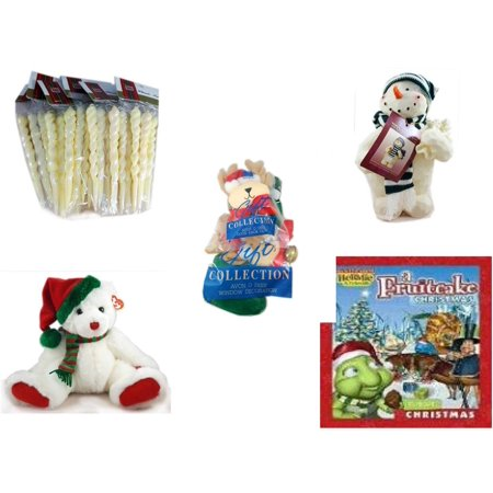 Christmas Fun Gift Bundle [5 Piece] - Brite Star Classic Trims Iridescent Icicles Ornament Set 24 - Woodniks