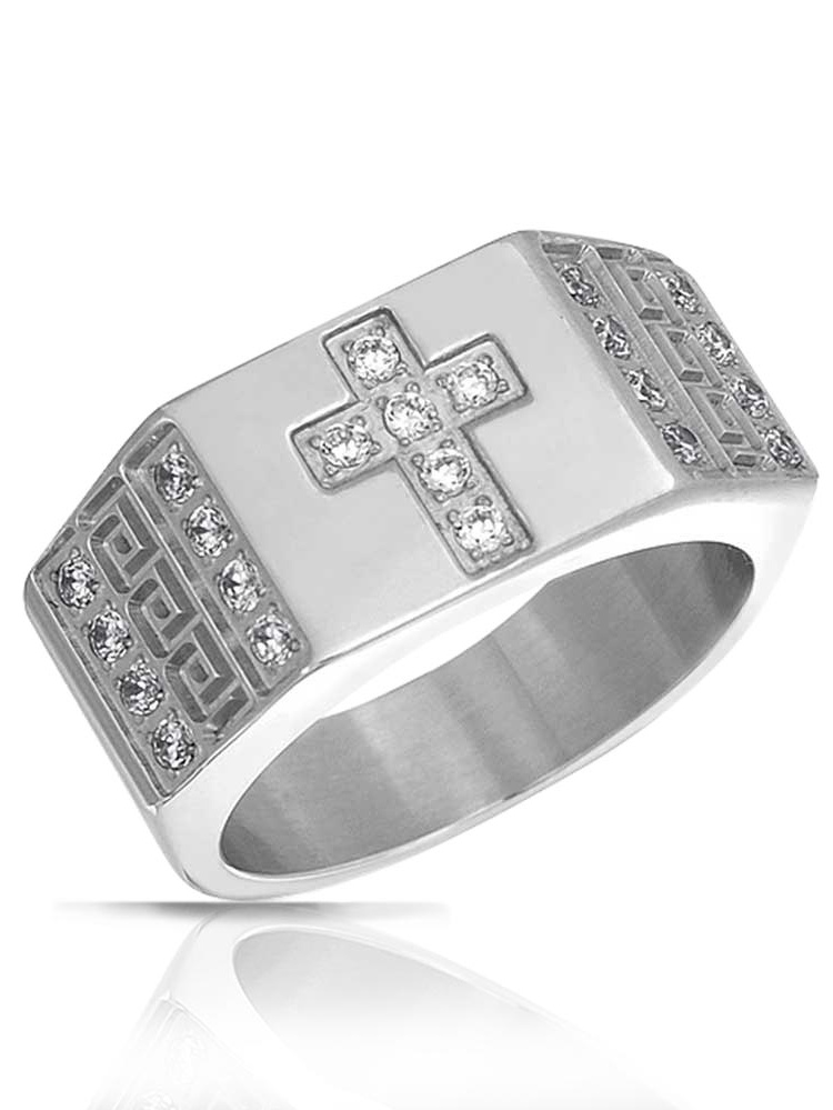 Mens Greek Key Band Cubic Zirconia Cross Ring by Bling Jewelry