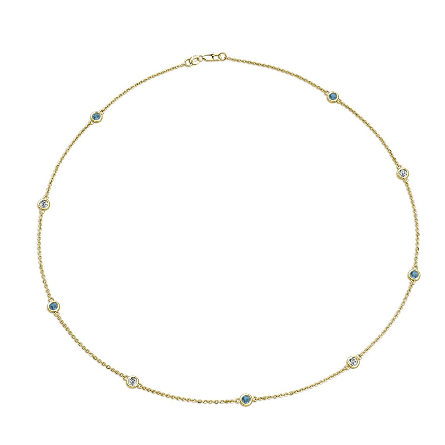 Blue Topaz and Diamond (SI2-I1, G-H) 9 Station Necklace 0.68 cttw in 14K Yellow Gold by TriJewels