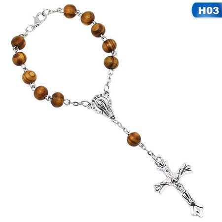 Fancyleo Catholic Religious Bead Cross Bracelets Rosary Centerpiece Sacred Heart of Mary Guadalupe Divine Mercy Jesus Saint Icons