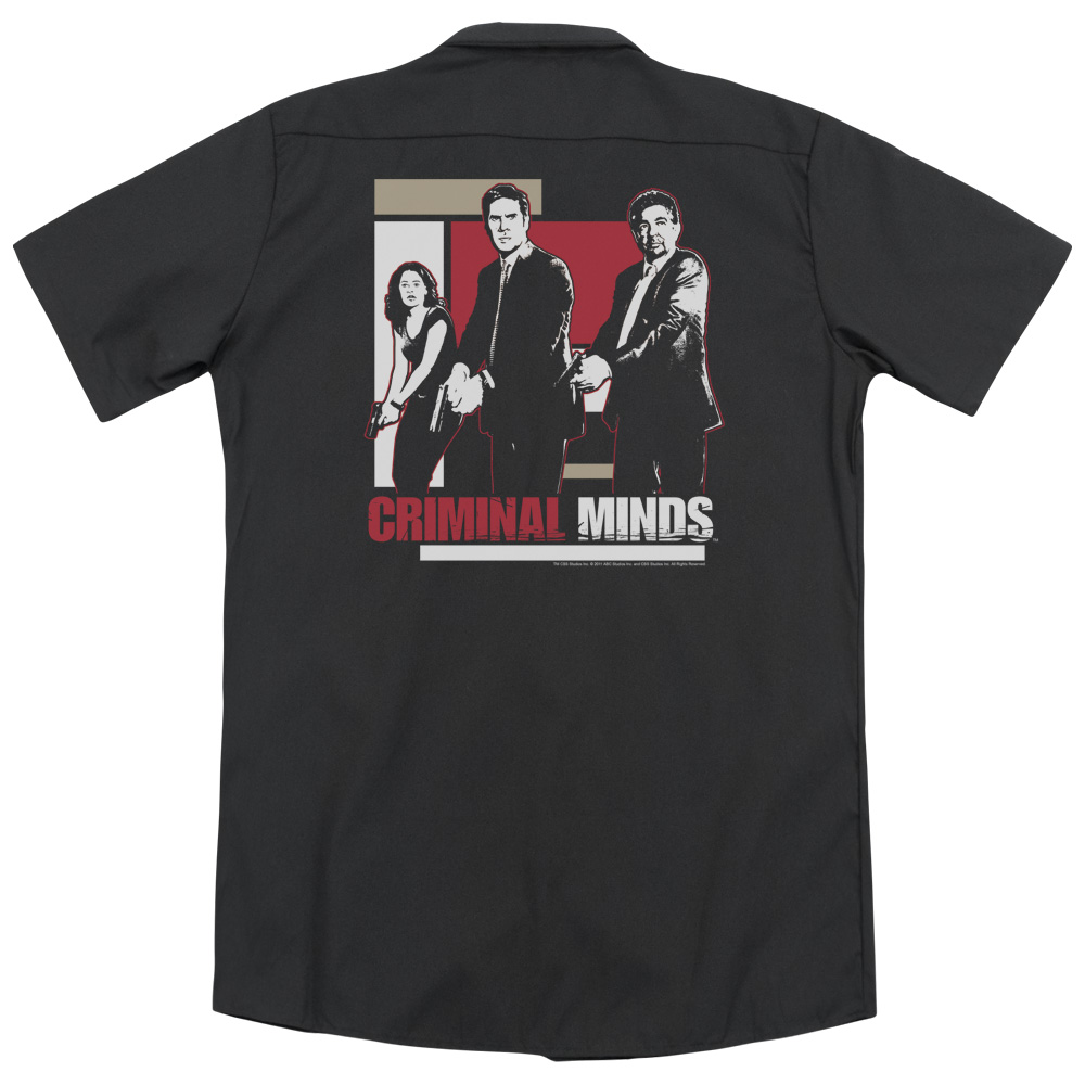 Criminal Minds Guns Drawn (Back Print) Mens Work Shirt