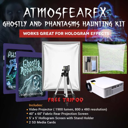 Halloween Atmosfearfx Ghostly Apparitions and Phantasms DVD Video Projector Kit, 1900 Lumen Projector with 800 x 460 - Halloween Dvd Projector