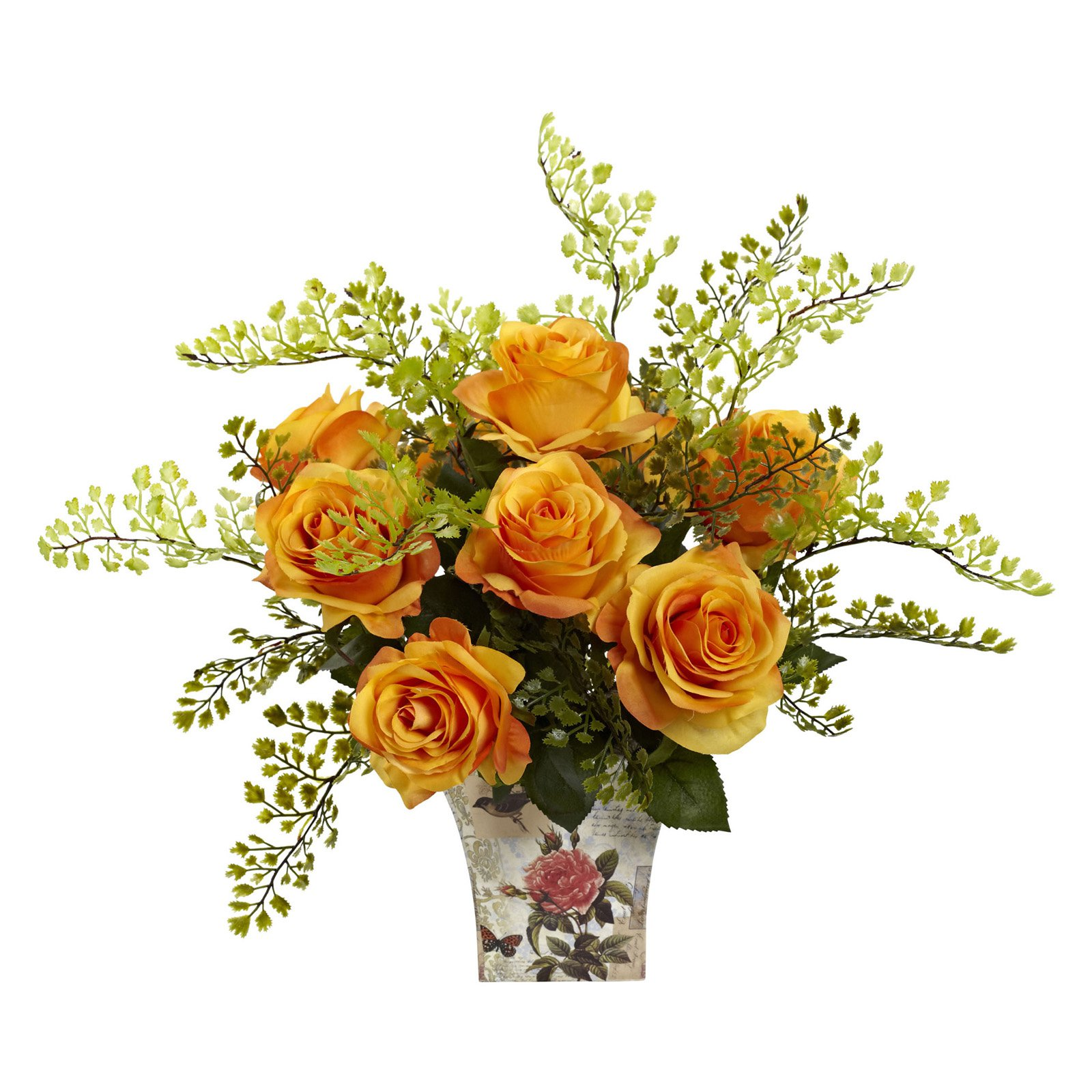 Nearly Natural Roses and Maiden Hair Silk Flower with Floral Planter