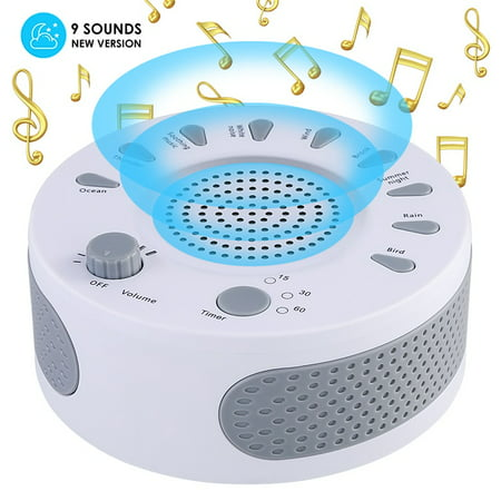 White Sonew Noise Sleep Relax Sound Therapy Spa Baby Easy Sleep Relaxation Soothing Aid Machine Sleep Sound Machine Built-in 9 Soothing Sounds,Timer