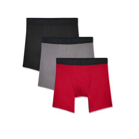 Fruit of the Loom Men's Breathable Lightweight Micro-Mesh Boxer Briefs, 3 Pack