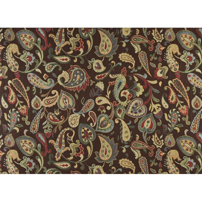 Designer Fabrics K0021A 54 in. Wide Blue, Red, Green Yellow And Brown, Floral Paisley Contemporary Upholstery Fabric