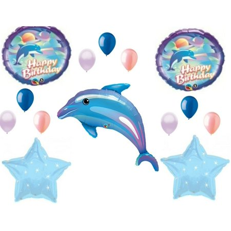 Dolphin Blue Coral Happy Birthday Party Balloons Decorations Supplies Ocean