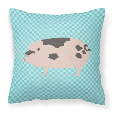 Gloucester Old Spot Pig Blue Check Fabric Decorative Pillow BB8114PW1818