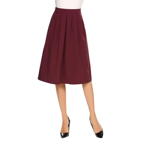 Cotton Solid Pockets Zipper - Women Casual Back Zipper Side Pocket A-Line Pleated Solid Skirt HFON
