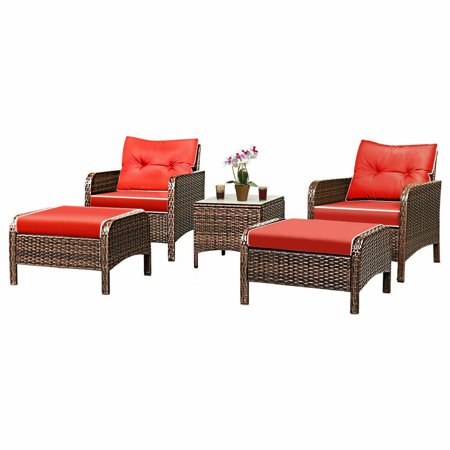 Gymax 5 PC Patio Set Sectional Rattan Wicker Furniture Set Home Outdoor ()