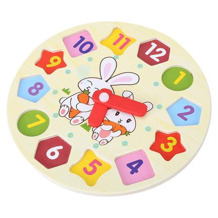 Domqga Geometry Clock Toy, Children Cartoon Rabbit Puzzle Educational Wooden Digital Geometry Clock Toy Set, Digital Geometry Clock (Clock Rabbit)