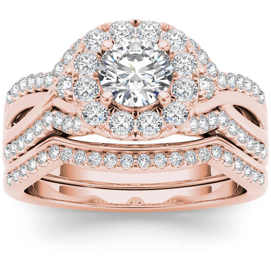 Imperial 1-1 4 Carat T.W. Diamond Criss-Cross Shank Halo 14kt Rose Gold Engagement Ring Set by Imperial Jewels